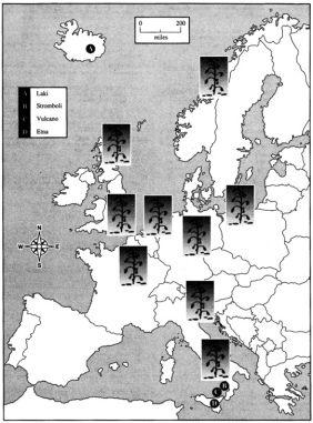Areas of severe defoliation