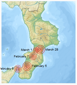 Southern Italy and Sicily showing the Calabrian Earthquakes