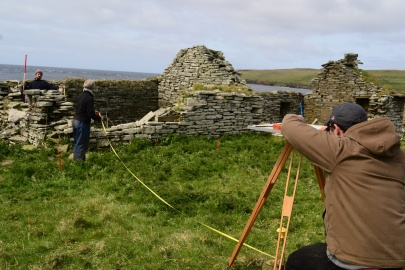 Volunteers completing a building survey at Skaill Farmstead