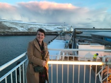 Maree Todd on the ferry from Scrabster to Stromness