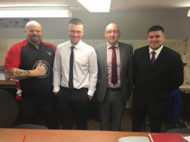 L-R Graham Stewart (Broth!), Conran Flett, Emmet O'Hagan Brian Cursiter