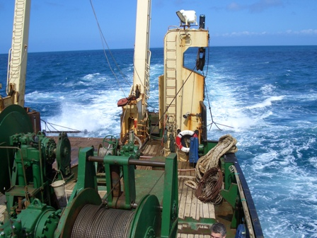 scallop dredges being deployed on another research cruise in the Western Channel M Bell