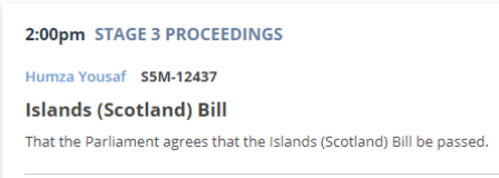 Islands Bill stage 3