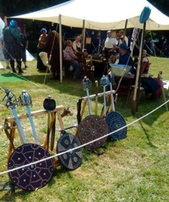 Re enactment Festival N Morrison swords and shields