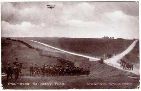 World War 1 troops and biplane at Stonehenge