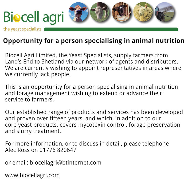Biocell Agri - Opportunity for a person specialising in animal nutrition. For more information, or to discuss in detail, please telephone Alec Ross on 01776 820647 or email: biocellagri@btinternet.com