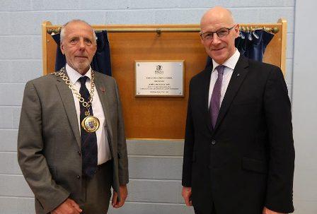 John Swinney and Harvey Johnston Evie School