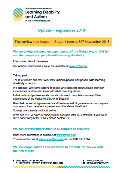 survey for Mental Health Scotland Act 1
