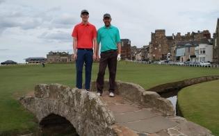 Iain & Ryan Wilkie on the Swilcan Bridge at St Andrews Scotland