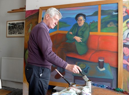 sandy moffat painting of George Mackay Brown