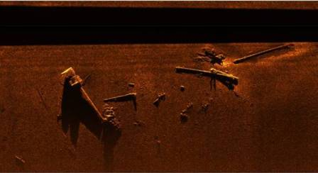 Sidescan Sonar image of debris from the Kaiser including masts boom arms and samson posts Image SULA Diving