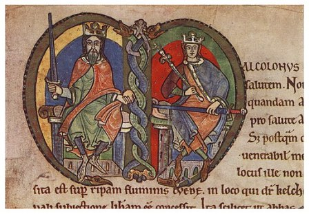 Malcolm IV and David I in the Charter to Kelso Abbey