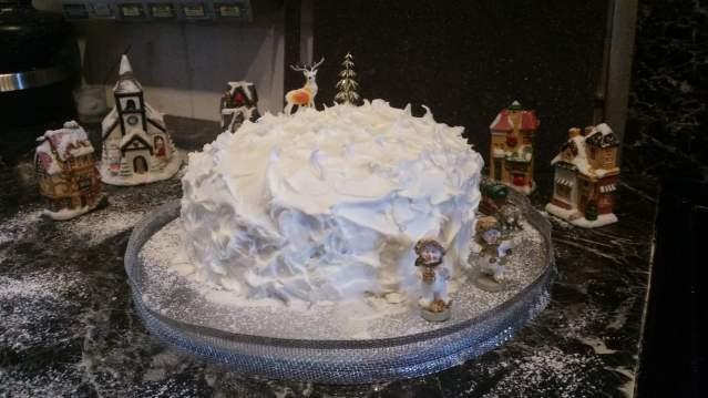 Christmas cake scene.