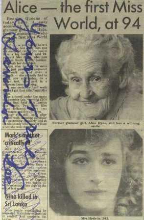 alice lavender lee newspaper cutting