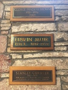 Plaque to Edwin Muir in St Magnus Cathedral, Kirkwall photo: Tedster007 from Wikimedia Commons