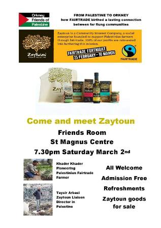 Orkney Friends of Palestine Fairtrade event