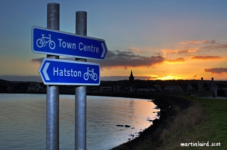 A cycle route in Kirkwall ends half way to the ferry terminal, in an industrial estate