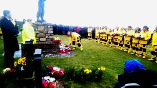 Each of the current Crew laid a wreath in memory of one of the lost crew.