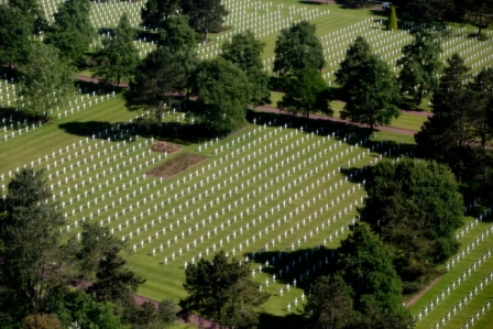 aerial view of the Normandy American cemetery