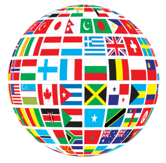 flags and globe