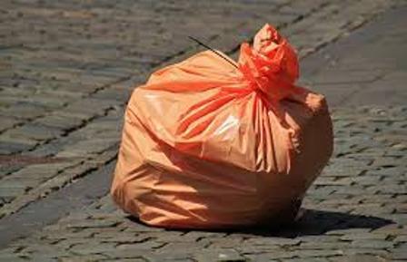 red waste bag