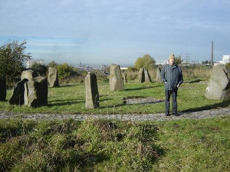 Duncan Lunan at first stone circle, 01 Oct 2010, by Linda Lunan