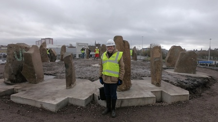 Duncan Lunan with re-erected stones 20.3.19, by Alan Cayless