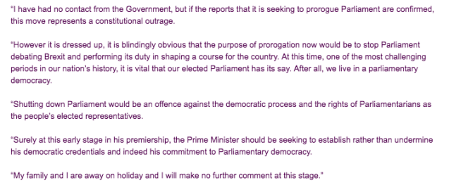 Statement from John Bercow