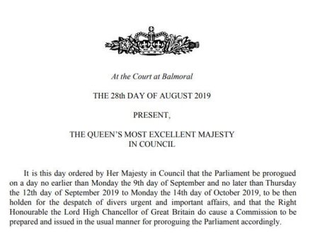 Queen suspending UK Parliament