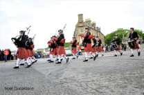 massed pipe bands in Wick Donaldson