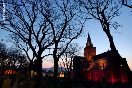 St Magnus Cathedral glowing orange for MS awareness