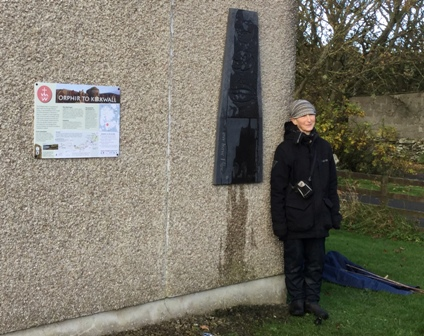 Frances Pelly with the Marker Stone St Magnus Way Orphir