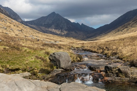 The pools at Glen Rosa with a view of Goat Fell on the Isle of Arran