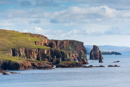 The rock pillars known as the Heads of Groken just off the Ness of Hillswick, Shetland