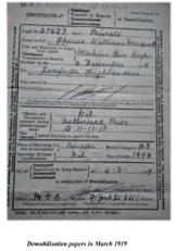 William Spence demobilisation papers