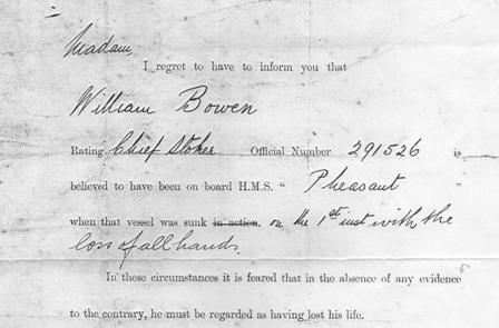 death telegram cropped HMS Pheasant