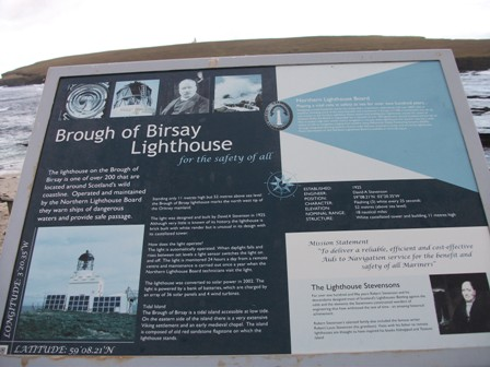 Brough of Birsay lighthouse notice board Bell