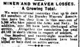 Miner and weaver losses world war 1 Burnley Tom Howarth
