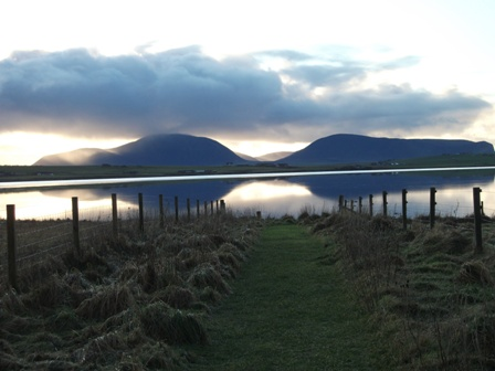 Stenness Loch and Hoy from Brodgar Bell