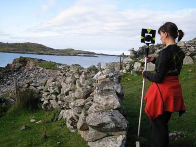 Dr Natascha Mehler surveying the German Trading site at Gunnister Voe, Northmavine, Shetland used around 1600 © Mark Gardiner