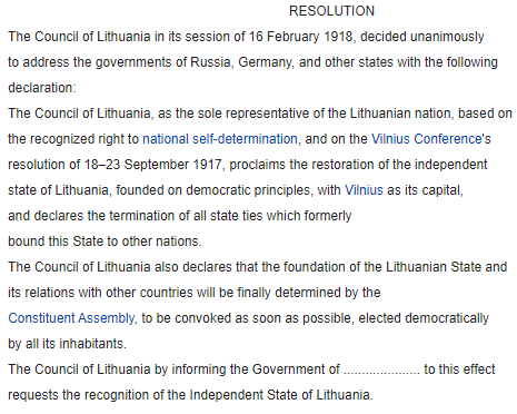 Lithuanian independence https://en.wikipedia.org/wiki/Act_of_Independence_of_Lithuania