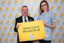 photo credit: Marie Curie/Stewart Attwood: Pictured left to right are David Stewart MSP and Marie Curie Nurse Kerys Russell