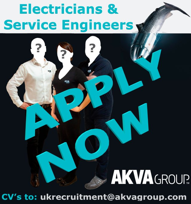 AKVA Group seeking electricians and service engineers. CVs to ukrecruitment@akvagroup.com