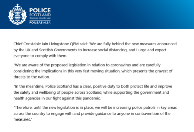 Police Scotland Statement Covid 19