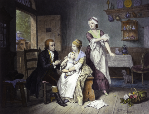 Edward Jenner vaccinating his young child, held by Mrs Jenner; a maid rolls up her sleeve, a man stands outside holding a cow. Coloured engraving by C. Manigaud after E Hamman.