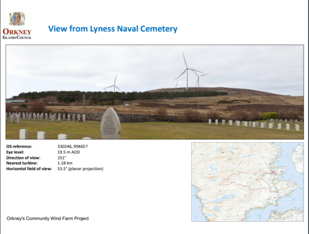 Hoy Wind Farm view from Lyness cemetery OIC
