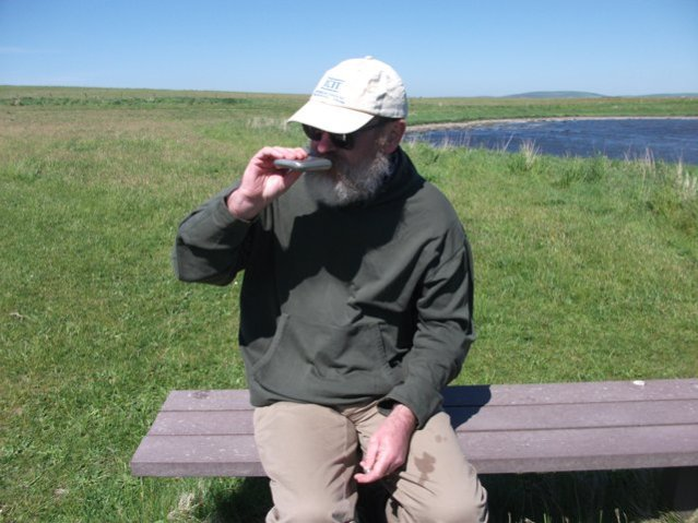 Mike Bell sipping whisky Brodgar May 2020 Bell